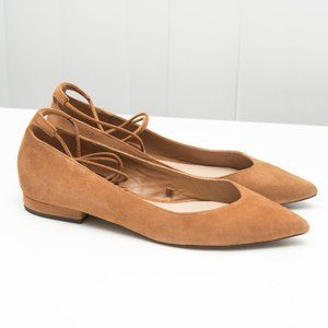 Massimo Dutti Tan Suede Flats with Ankle Laces